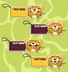 Four cute cartoon Leopards stickers vector image vector image