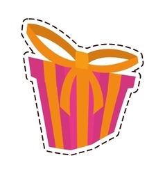 gift box ribbon new package color cut line vector image