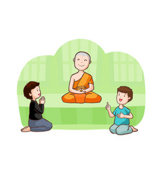 Happy buddhist monk and follower vector