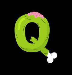 letter q zombie font monster alphabet bones and vector image