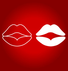 lips line and glyph icon valentines day vector image