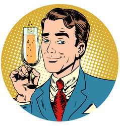 nice man with a glass of champagne sparkling wine vector image vector image