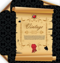 old paper on damask background vector image vector image