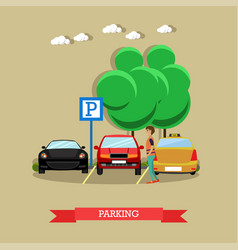 Parking concept in flat style vector