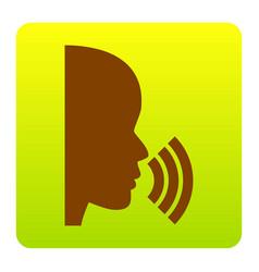People speaking or singing sign brown vector