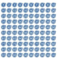 Percentage icons full blue set vector image