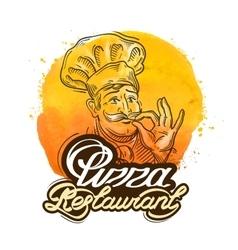 pizza restaurant logo design template home vector image vector image