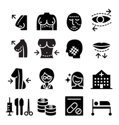 plastic surgery icon set vector image vector image