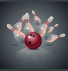 Realistic bowling strike concept on dark gray vector