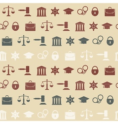 Seamless background with symbols of law and courts vector image vector image