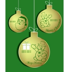 set of Golden Christmas balls vector image vector image