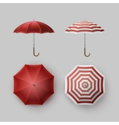 Set of White Red Striped Rain Umbrella Sunshade vector image vector image