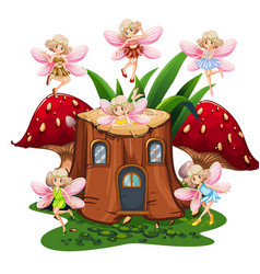 Six fairies flying around log home in garden vector