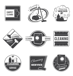 Vintage cleaning service logos emblems vector image