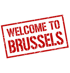 Welcome to brussels stamp vector
