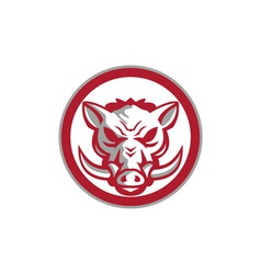 Wild boar razorback head angry circle retro vector