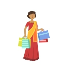 Woman in indian sari in shopping mall vector
