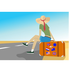 Young traveler woman sits on suitcase on highway vector