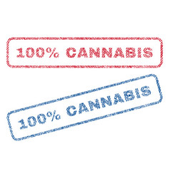 100 percent cannabis textile stamps vector