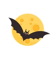 Bat and full moon vector