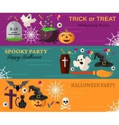 Halloween Horizontal Banners or Flyers vector image