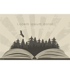 Dark forest in open book vector image