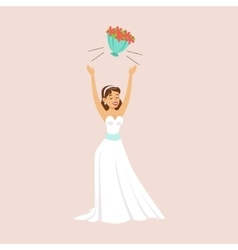 Bride throwing her bridal bouquet at the wedding vector