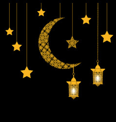 Ramadan card crescent with stars and lanterns vector