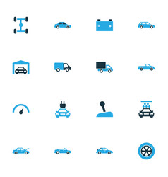 Auto colorful icons set collection of van vector
