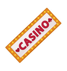 Casino signboard with lot of small lamps isolated vector