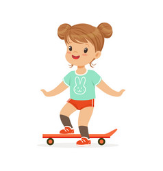 Girl riding on a skateboard kids summer activity vector