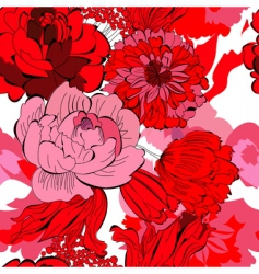 Seamless pattern with red flowers vector