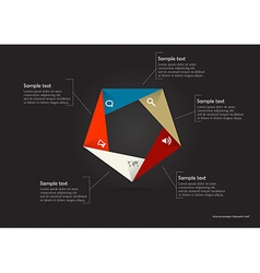 Pentagon origami infographic vector