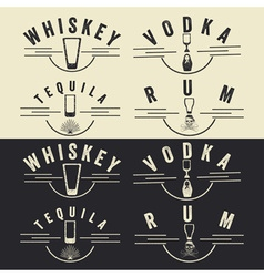 Whiskeyrumvodka and tequila vintage labels set vector