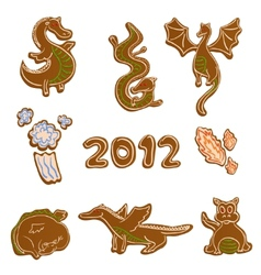 gingerbread dragon cookies vector image