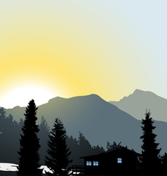 Lonely house mountain view vector