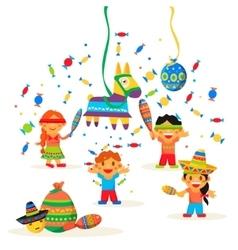 Children celebrate posada breaking the vector