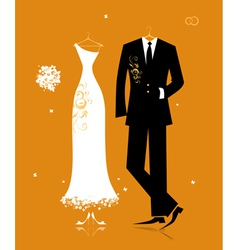 Wedding groom suit and brides dress vector
