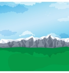 Mountain valley green pastures landscape vector