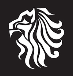 Abstract lion on black background vector