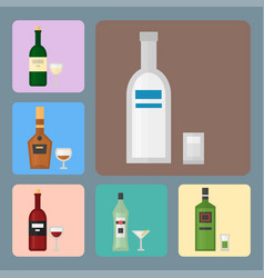 Alcohol drinks beverages cocktail card drink vector
