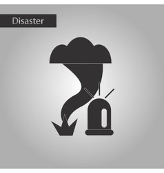 Black and white style icon tornado alarm lamp vector