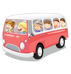 bus and kids vector image vector image