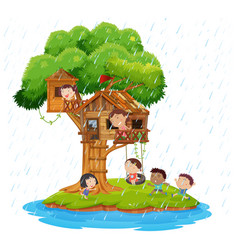 Children playing in the treehouse on island vector