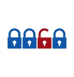 Closed and opened locks icons vector image vector image