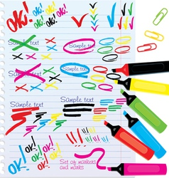 Color markers design elements vector