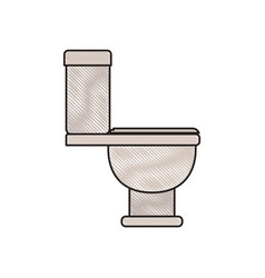 Colored crayon silhouette of toilet icon side view vector