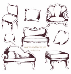 Cushioned furniture set hand drawing vector
