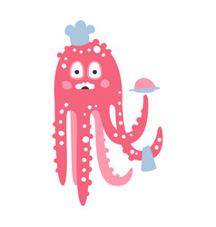 cute cartoon pink octopus chef character funny vector image vector image