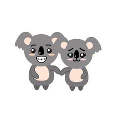 cute couple koala wild animal with beautiful vector image vector image